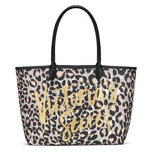 VICTORIA'S SECRET Leopard Print Gold Foil Tote Bag